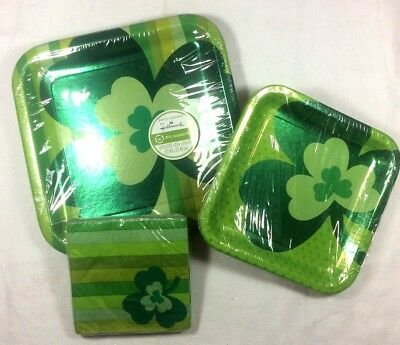 St Patrick Day PAPER PLATE & NAPKIN SET Luncheon Green Shamrock Party Decor 1-6D