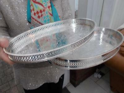 2 Vintage Silver Plated Matching Gallery Trays Great For Party Celebration