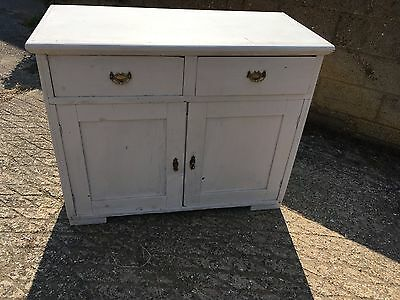 A Victorian Shabby Chic Painted Pine Sideboard Cupboard 2 drawers