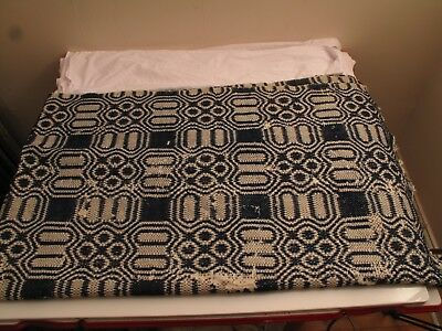 "Antique Blue White Traditional Pine Cone Coverlet Quilt Homespun 1800's 96""x56"""