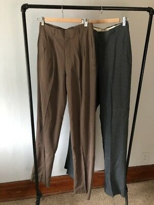 Lot of 2 - Vintage Mens 1940s High Waisted Pants - Rayon New Old Stock