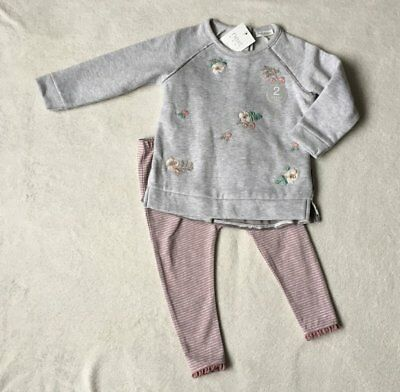*BNWT Next baby girl Grey Embroidered velour tunic and tights set 6-9 months*