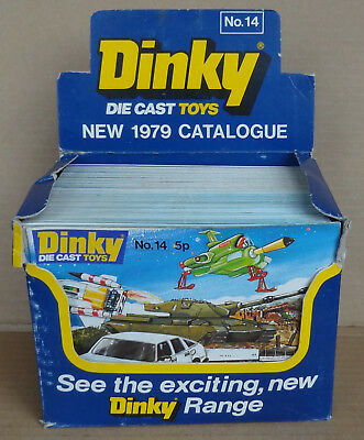 Dinky Toys complete shop counter trade display box + 50 original 1979 catalogues