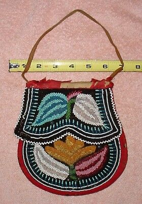 late1800 Iroquois Indian Glass Beaded POUCH with Flaps; hidden pocket. purse bag