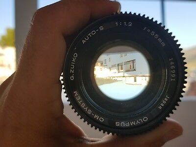 Objetivo Olympus om 55mm F 1.2 con anillo CINEMA enfoque follow focus