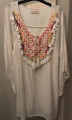 Miss June White Cover Up With Neon And Tassel Detail. One Size. New Unworn.