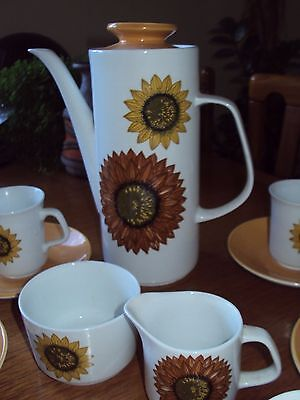 "Vintage 60's/70's J & G Meakin ""Studio""  Sunflower Pattern Coffee Set - Complete"