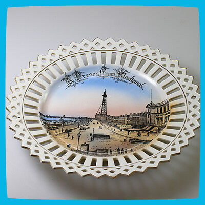 vintage antique rare old FOREIGN Porcelain China Plate Dish Blackpool England