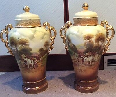 Pair of Antique Old Farmhouse Display Lidded Vases PICK UP LEICESTER