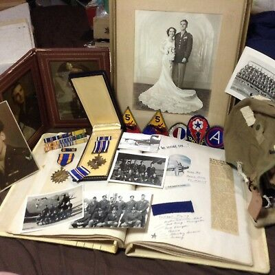 WW2 WWII DISTINGUISHED FLYING CROSS  &  AIR MEDAL - Photos - Id Info Large Lot
