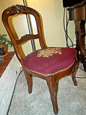 Signature Possible 1800s  Mahogany Needlepoint Balloon Back Desk Side Chair 2