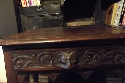Jacobean Table Stunning Original Piece Unusual Face Handle No Screws
