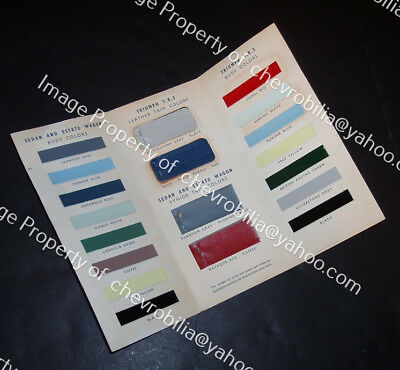 1959 Triumph TR-3, Sedan & Wagon COLOR CHIP & UPHOLSTERY SAMPLE Brochure TR3