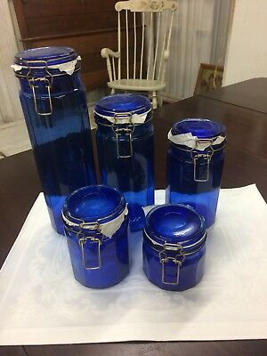 Vintage Cobalt Blue Glass Paneled Canister Apothecary Jar  (5) Graduating Wire
