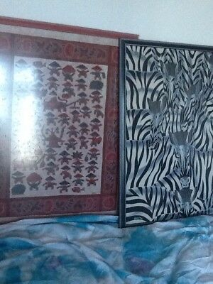 5 Massive Glass Framed Batik From Malaysia Tribal Cloth Wax Resist Dyeing Fabric