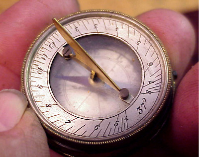 ORIGINAL ANTIQUE 1800s BRASS POCKET SUNDIAL COMPASS