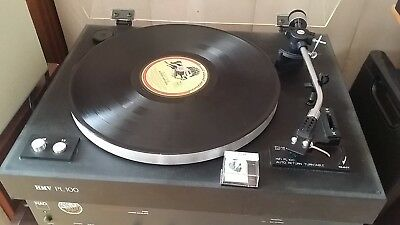 vintage turntable  / record player HMV PL100 , plays well.