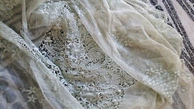 "Antique Tambour Lace Daybed Cover 112"" x 92"" Shabby Chic Coastal Pale Seafoam"