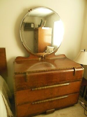 Antique 1938 Art Deco Waterfall Bedroom Set 6 pcs. 2 mirrors