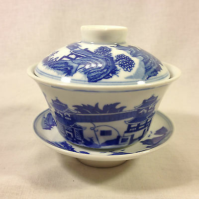 Chinese Blue & White Porcelain Tea Cup w/Lid & Saucer...Lot#200CHTC