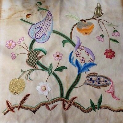 Vintage Embroidered & Crewel Work Panel Jacobean Style Vine Fruits and Flowers