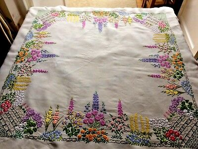 """Stunning Vintage Hand Embroidered Linen Tablecloth Raised Cottage Flowers 47x49"""""""