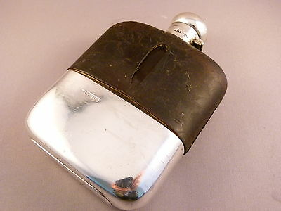 Solid Silver and Glass Hip Flask with Leather Cover, Sheff 1903,