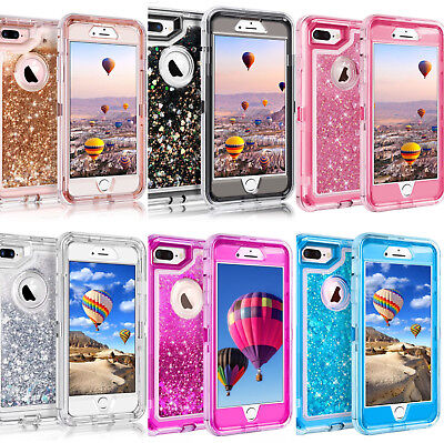 For iPhone 8 Plus XR 6S 7 Plus Glitter Liquid Clear Clip Fits OtterBox Defender