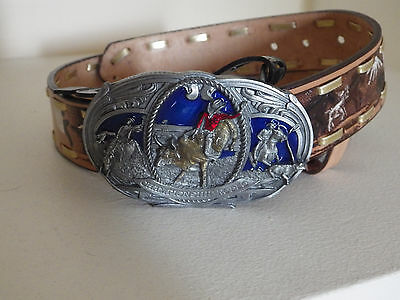 "Child 1&1/4"" leather belt w rodeo bull rider buckle cowboy country farmer kids"
