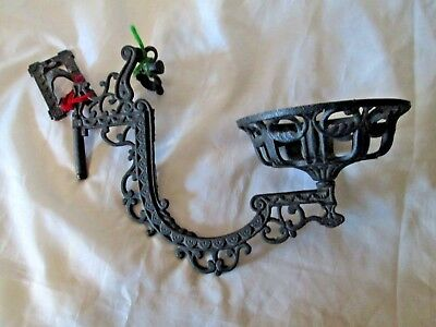 Antique Cast Iron Wall Sconce & Bracket  Fixture For Oil Lamp ,