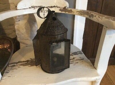 Early Tin Lantern Georgian 18th Century Punched Pieced Decoration Candle Lantern