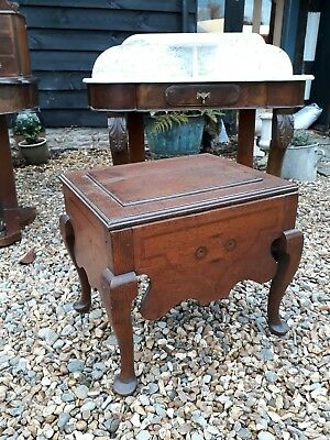 georgian oak commode cabriole legs bedside stool table