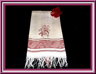 Magnificent Antique Linen Damask Redwork Towel With Fringe Circa 1900
