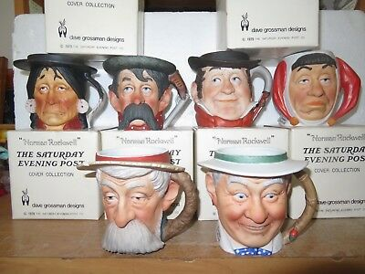 Set of 6 Toby Mugs Norman Rockwell Saturday Evening Post by Dave Grossman NOS