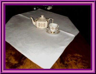 Lovely Antique Irish Linen Damask Tea Tablecloth With Gorgeous Design And Cond