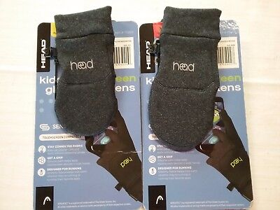 NWT Kid HEAD Unisex Touchscreen Compatible HEATHER GRAY Mittens S(4-6),M(6-10)