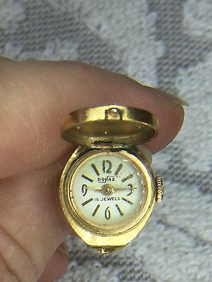 Rare Art Deco 1930's French Donax Watch Ring  7 Rubies + 15 Jewels,  Antique