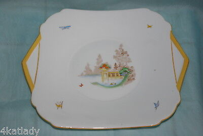Lovely Vintage Shelley china Cake/Serving dish w/handles-Butterflies,Yellow trim