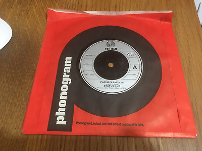 "Status Quo ""Paper Plane & Softer Ride"" 7"" Vertigo Single EX CONDITION"