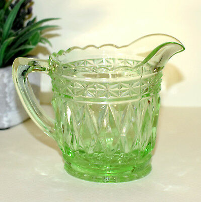 * Crown Crystal Green Depression Glass Creamer/ Jug