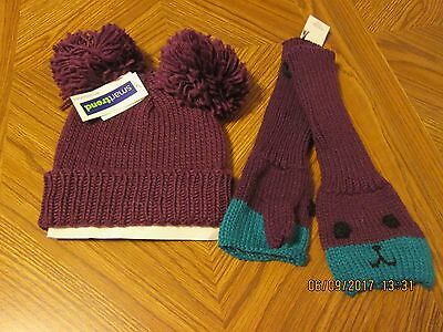 Hat and mittens set Purple Pom poms fingerless Ladies one size Acrylic