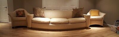 """Couch & Chairs -Extra long couch (96"""") + two matching armchairs + throw pillows"""