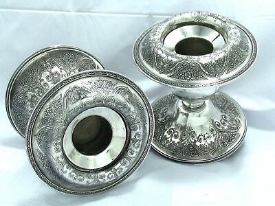 1921 Vintage Deco Paisley Chased Ornate Wilcox Sp Co. Console Taper Holder Set