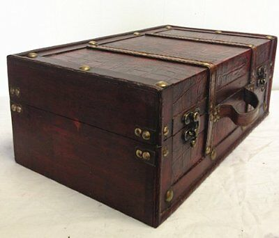 Vintage Suitcase Old Style Antique Looking Leather Small Chest Decor Wooden Box