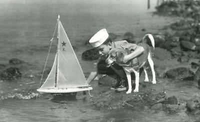 Old Beagle & Boy Postcard PC & Sailboat from North Shore Animal League c1970s