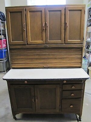 Antique Large Sellers Indiana Hoosier Cabinet w/Flour Sifter & Work Table 2 PCs