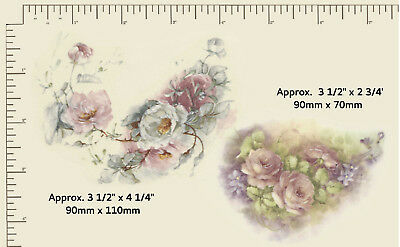 2 x Waterslide ceramic decals Decoupage Flowers Pink and white Roses  R35