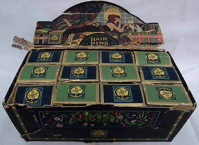 Vintage Antique Art Deco Victory Hair Pins Country Store Display Box 12 Boxes Sm