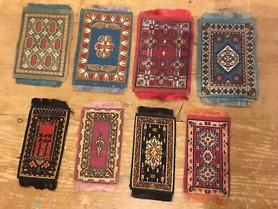 8 Antique Luxury Cigarette Felts/Silks-Oriental Rug- Doll Houses/Quilts/Crafts