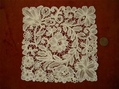 HTF SQUARE HAND MADE Antique VTG BELGIAN BRUSSELS DUCHESSE LACE DOILY  *DOLLS
